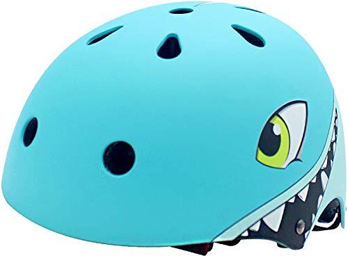 YGJT Kinderhelm 2-5 Jahre leicht Fahrradhelm Kinder-Cartoon 3D-Form Multi-Sport Sicherheit Sportartikel Jungen Mädchen (Hai, S(50-54 cm) für 2-5 Jahre)