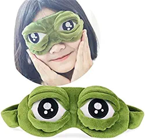 Preisvergleich Produktbild BEYCARE 3D-Augenmaske Schlafen,  Fluff Gesicht Schlafen Lustige Neuheit-Karikatur-Frosch-Augen-Abdeckung eyeshade Nacht Maske für Schlaf Reise-Maske (Grün)