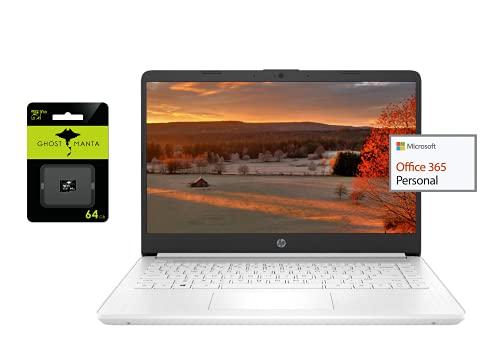 "2021 Newest HP 14"" Ultra Light Laptop, Intel N4020 Processor(Up to 2.8GHz), 8GB RAM, 128GB Storage(64GB eMMC+64GB Micro SD), 1 Year Office 365, Webcam, HDMI, WiFi, USB-A&C, (Google Classroom or Zoom)"