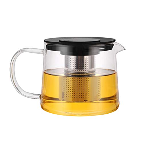 Besto nzon 1000ml cristal tetera tetera Jarra de cristal Acero Inoxidable con colador de té Infuser resistente al calor para té café té Flores rosas (transparente)