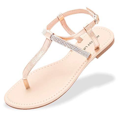 Damen Sandalen Frauen Zehentrenner Strass Flip Flops Glitzer Flach PU Leder Sommer Mädchen Elegant Schuhe Gr.35-42.5