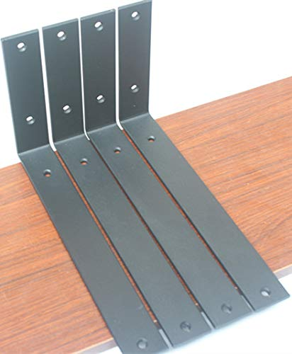 4 Pack - Frosted Black L11 x H 6 x W 15 5mm Thick Rustic Shelf Bracket Iron Shelf Brackets Metal Shelf Bracket Industrial Shelf Bracket Modern Shelf Bracket Decorative Shelving with Screws