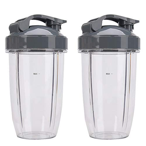 2 Pack 24oz Tall Cups with Flip Top To Go Lid, Nutribullet Replacement Containers with Lids Compatible with Nutribullet 600W & Pro 900W NB-101S, NB-101B, NB-201 Blender Mixer Juicer Accessories