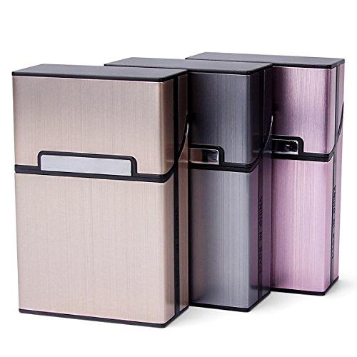LAOYE 3pcs Zigarettenbox Metall mit Magnetverschluss, Zigarettenetui aus Alu für Zigarettenschachtel, Leichter edeler Zigarettenkasten für 20 Zigaretten (3er Pack, grau + rosagold + Champagner Farbe)