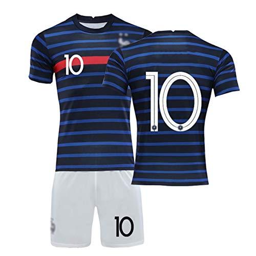 Outskirts Conjunto de la Copa del Mundo de fútbol Jersey del Equipo francés Copa del Mundo 2020 Dos Estrellas Camiseta con Pantalones Cortos (Color : Home 10, Size : 18)