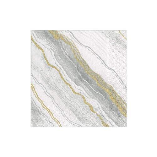 Caspari Marble Paper Napkins in Grey, Package Tovaglioli di Carta da Cocktail in Marmo, 20 Pezzi, Colore: Grigio, Nero