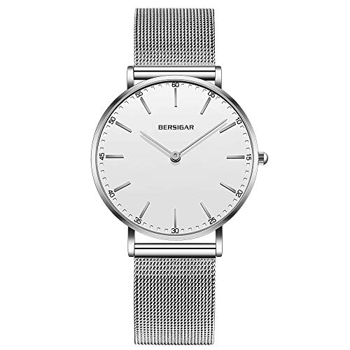 Reloj analógico de Lujo para Mujer de Bersigar, Resistente al Agua, con Correas de Acero Inoxidable, Estilo Minimalista, Reloj Blanco con brazaletes de Plata.