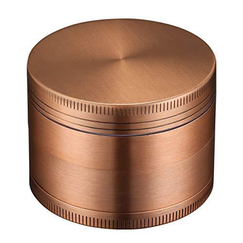LIHAO Grinder Crusher 4-Teiliges Set Mühle Zinklegierung mit Pollen Scraper für Tabak Spice Kräuter Gewürze Herb (Mini 5 x 3,5 cm, Bronze)