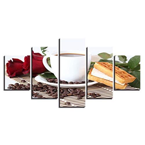 SDALD Leinwanddrucke 5 Stück 150x80CM Leinwandbild 5 tlg Kaffee Rose Waffeln Bilder Druck auf Leinwand Bild Kunstdruck mehrteilig Hause Gemälde Leinwand Malerei Wand Kunst 5 Panel Modulare Poster Bild