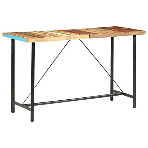 vidaXL Mesa Alta de Cocina Muebles de Comedor Sala de Estar Casa Exterior Fácil de Montar Celebrar Comidas de Madera Maciza Reciclada