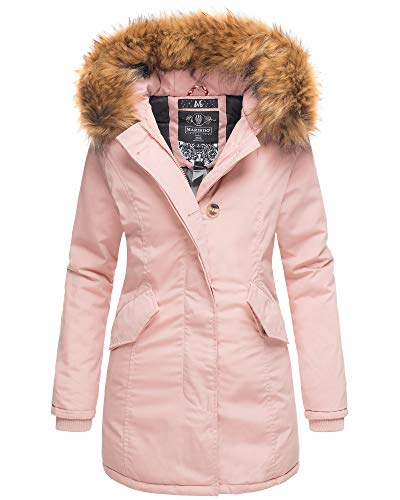 Marikoo Damen Parka Jacke Winterjacke Fellkapuze Trend Farben KRM55 (XS, Rosa VAR.2)