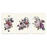 ヴィンテージ水彩植物花ポスタースカンジナビアの壁アートキャンバス絵画家の装飾のためのミニマリストの装飾写真50x70cmx3フレームなし