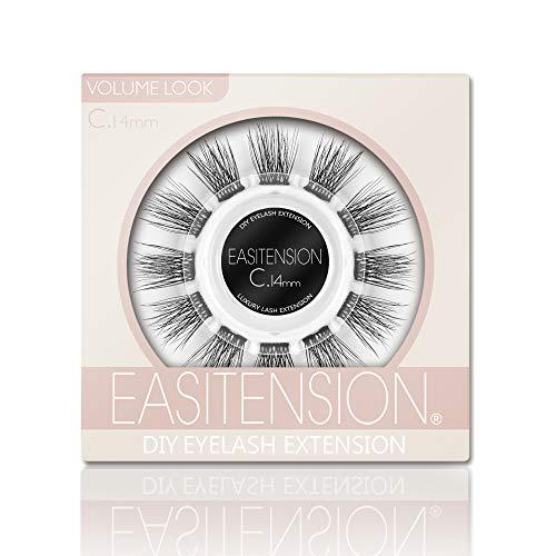 DIY Eyelash Extension, 3D Effect Glue Bonded Band Individual Lash 12 Clusters Volume Lashes Set, Home Eyelash Extension, C curl Lashes Pack (14MM)