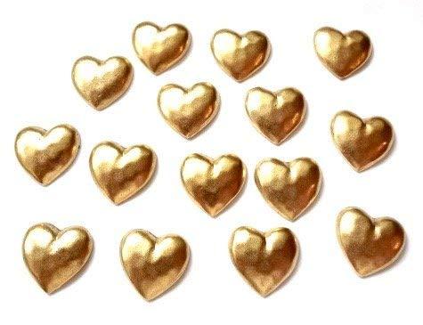 Gold Hearts Push PINS, Set of 15 T-46AG