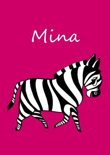 personalisiertes Malbuch / Notizbuch / Tagebuch - Mina: Zebra - A4 - blanko