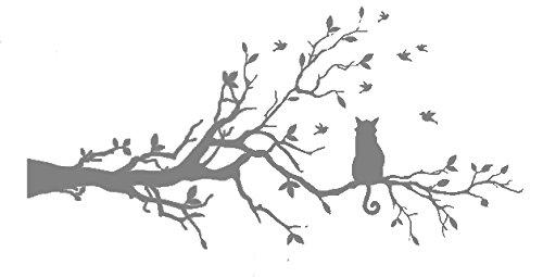 Vinyle décoratif Cat Branch. (environ 120 x 60 cm Réf.) couleur Gris.