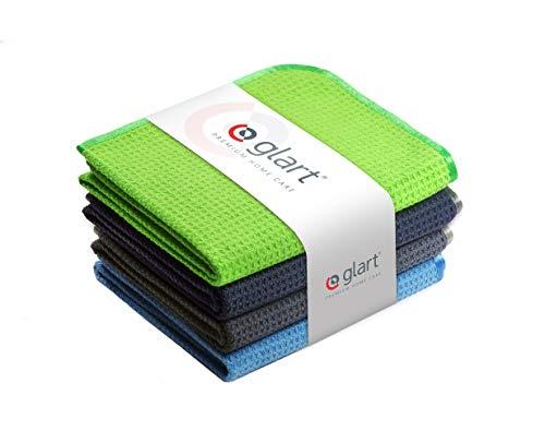 Glart - Pack de 4 paños de cocina de microfibra absorbentes para secar cristal, menaje de cocina, vajilla y para el baño, 70 x 50 cm, Rojo
