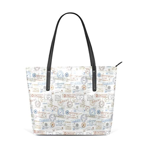 NR Multicolour Fashion Damen Handtaschen Schulterbeutel Umhängetaschen Damentaschen,Weinlese-alte Stempel-touristisches Pass-Visum-Zertifikat-Ferien-Feiertags-Thema