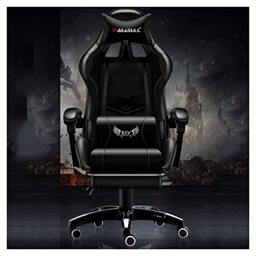 Scra AC Gaming Chair with Footrest Big and Tall Office Executive Chair Heavy Duty Adjustable Recliner with Headrest Lumbar Support Cushion Computer Desk Chair (Color : Black)