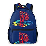 Funky Playstation Logo 学校/スポーツバックパック、カジュアルなユニセックススタイルの大学の学校のバッグ/ラップトップバッグ男性用女性。