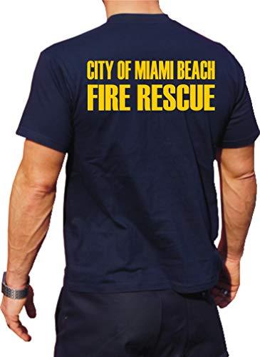 feuer1 T-Shirt Fonctionnel Navy avec Protection UV 30+, Miami Beach Fire Rescue, Jaune XL Bleu Marine