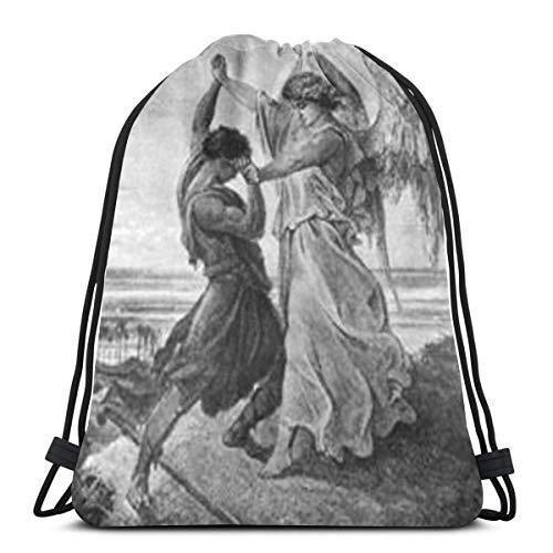 Ghytdf Wrestling with The Angel Kordelzug Rucksack Tasche Kordelzug Tote Bag Sling Bag Sporttasche geeignet für Schule Gym Trip