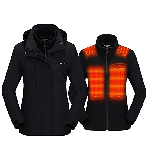 Venustas Women s 3-in-1 Heated Jacket with Battery Pack 7.4V, Ski Jacket Winter Jacket with Removable Hood Waterproof