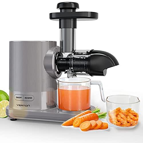 VEATON Slow Juicer, Elektrischer Kaltpress-Entsafter für Gemüse und Obst, Ruhiger Motor und Rückwärtsfunktion, BPA-frei, Leicht zu Reinigen
