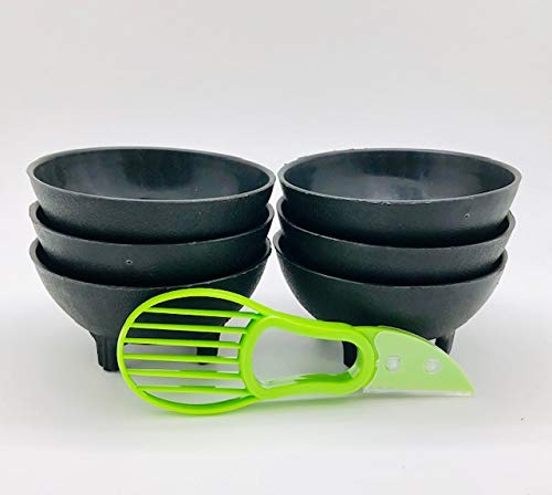 6 Pieces of Black 3-Legged Plastic Molcajete Salsa Bowls for Guacamole, Salsa, Pico de Gallo, Dips, Party Foods, Picnic Condiments, or any Occasion, Whith a 3 in 1 Avocado tool who cuts avocado in ha