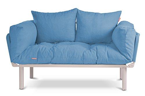 EasySitz Schlafsofa Sofa 2 Sitzer Kleines Couch 2-Sitzer Schlafsessel für Zweisitzer Personen Mein Futon Sitzen EIN Einer Farbauswahl (Türkis)