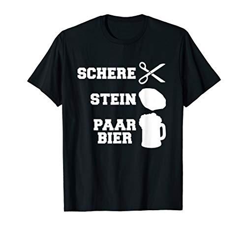 Lustiges Bier Alkohol - Schere Stein Paar Bier T-Shirt