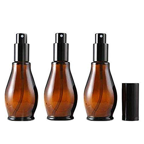 Beeria 3 Pcs Spray Bottle Glass Small Spray Bottle Empty Fine Fog Bottles with Black Atomizer for Perfume Aromatherapy