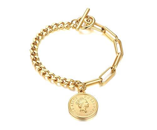 VNOX Acier Inoxydable Lien Charmes Bracelet pour Les Femmes Elizabeth Tête Sculpture Minuscule Pièce de Monnaie Pendentif Chaîne Lien Bracelet pour Les Femmes