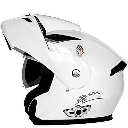 ZLYJ Bluetooth Abierto Cascos Motocicleta, Casco Integral Motocross con Anti-Niebla Doble Visera, Anti-Colisión Cara Completa Moto Casco, Homologado ECE B,XXL(63-64cm)