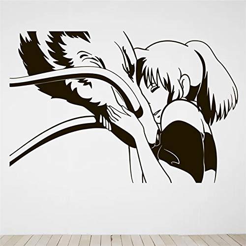 Anime dibujos animados cómics película Hayao Miyazaki Spirited Away Chihiro Dragon pegatina de pared vinilo calcomanía chica Fans dormitorio sala de estar decoración del hogar Mural