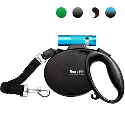 Happy & Polly Rollleinen Klassische Hundeleinen mit Licht Seil Roll-Leine Gurt 5m für Hunde mit Taschenlampe, Ruckdämpfer und Hundekotbeutel Spender (Blaue Taschenlampe)