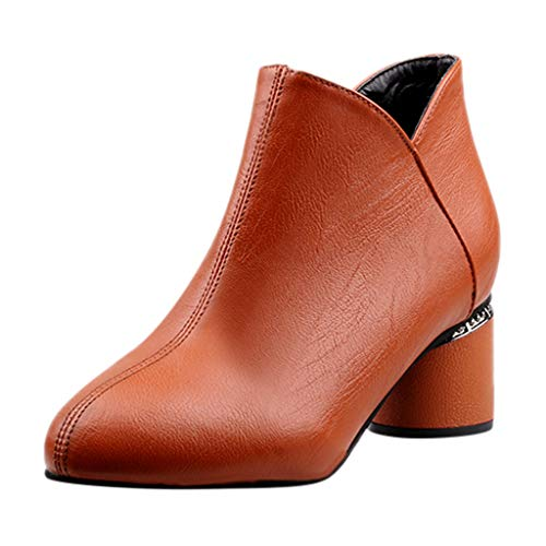 NI_ka Women's Ladies Fashion Pointed Toe Short Ankle Boots Zipper Thick Heels Shoes Brown CN:40
