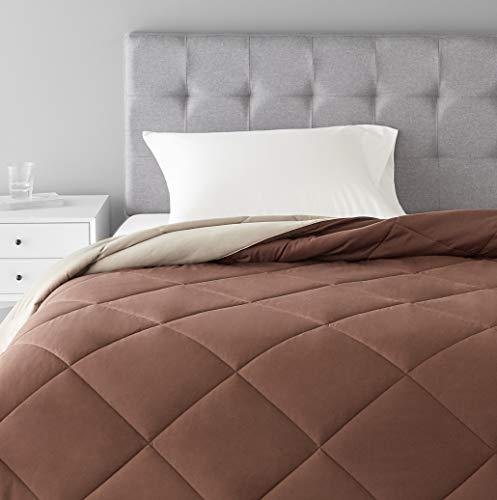 Amazon Basics Reversible Microfiber Comforter Blanket - Twin / Twin XL, Chocolate / Khaki