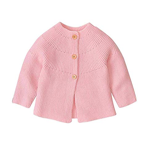 Hailouhai Herbst Winter Neugeborenen Baby Mädchen Pullover niedlich Langarm Kleidung Strickjacke Pullover warm halten Outfits (0-3 Monate, Rosa)