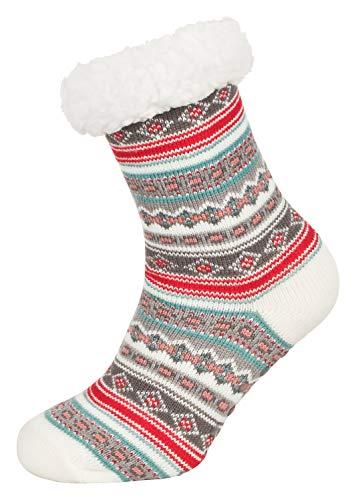 Tobeni 1 Paar Damen Hüttensocken ABS Socken Kuschelsocken mit Anti-Rutsch Noppen Sohle Grösse One Size Farbe Ethno Weiss