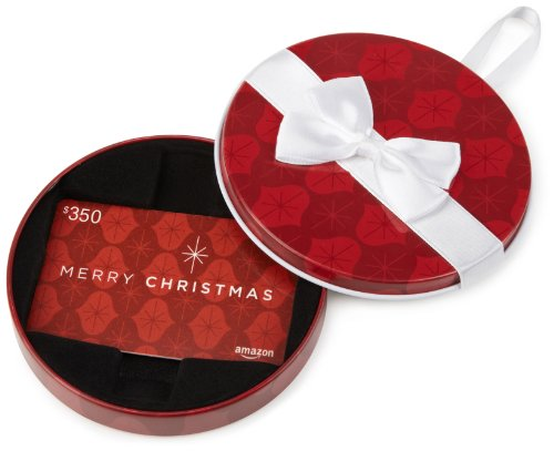 Amazon.com $350 Gift Card in a Red Ornament Tin (Merry Christmas Card Design)