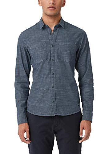 Q/S designed by Herren Extra Slim: Hemd mit Tape Moonlight Blue Melange XL
