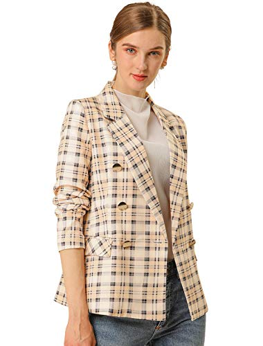 Allegra K Women's Notched Lapel Double Breasted Plaid Formal Blazer Jacket S Apricot