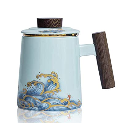 """HOOASIS Ceramic Tea Cup with Infuser and Lid,Pattern """"Fish Over Waves"""" ,Wooden Handle Tea Mugs,Pure Gold Ring,15.2 OZ (Sky Blue)"""