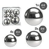 Cepewa 7er Set Style Deko Kugeln in 3 Größen Sortiert Silber Teichkugeln Metallkugeln Gartenkugeln