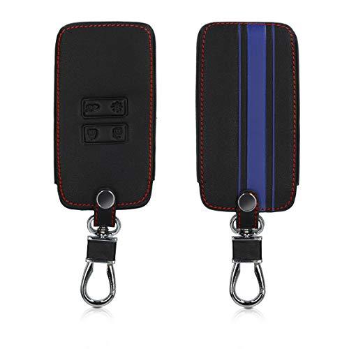 kwmobile Autoschlüssel Hülle kompatibel mit Renault 4-Tasten Smartkey Autoschlüssel (nur Keyless Go) - Kunstleder Schutzhülle Schlüsselhülle Rallystreifen Sidelines Blau Schwarz