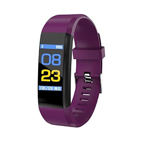 Pulsera Actividad Inteligente Impermeable IP67,Fitness Tracker Podómetro Monitor de Sueño Contador de Calorías Pasos Rastreador con Pulsómetro Mujer Hombre(Color:115 plus-púrpura)