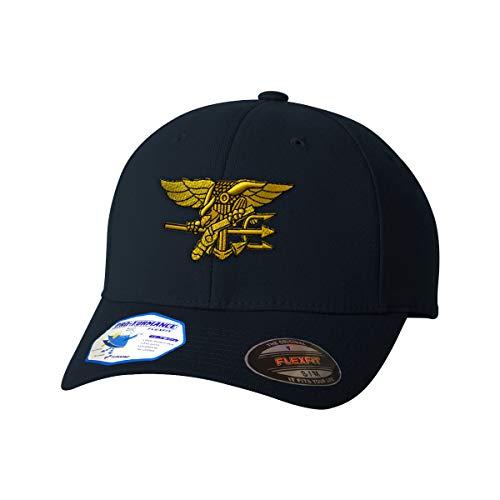Flexfit Baseball Cap U.S. Navy Seal Embroidery Design Polyester Hat Elastic Dark Navy Large/X Large Design Only