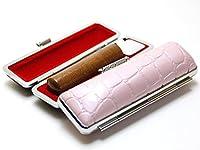 「なつめ印鑑12.0mm×60mmシャイニークロコケース(ピンク)付き」 縦彫り 吉相体