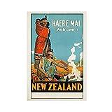 Vintage-Poster, Kunst, Stadt, Neuseeland, Landschaft,